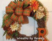 Autumn Grapevine Wreath with Initial