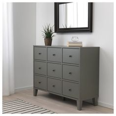 IKEA - BRYGGJA, Chest of 9 drawers, dark grey, Of course your home should be a safe place for the entire family. That's why a safety fitting is included so that you can attach the chest of drawers to the wall. Smooth running drawers with pull-out stop. Grey Chest Of Drawers, Bedroom Chest Of Drawers, 6 Drawer Chest, Gray Dresser, Chest Dresser, Grey Bedroom Furniture, Gray Bedroom, Pallet Furniture, Yurts