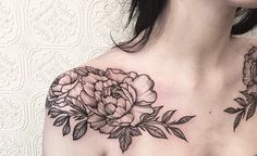 Shoulder peonies by johno_tattooer on Instagram