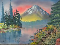 Bob Ross painting class - big yellow, like there was some city-aglow beyond the tree line below reflecting against the mountain... did some off green for the tree line that is faded... and the buses were the best I could make
