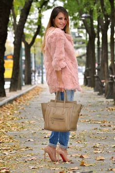Fabulous pink fur, jeans and Louboutins!