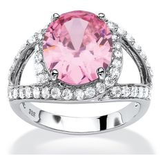 PalmBeach Jewelry 5.77 TCW Simulated Pink Tourmaline CZ Ring ($50) ❤ liked on Polyvore featuring jewelry, rings, jewelry & watches, cubic zirconia rings, cz jewelry, rubellite ring, oval cubic zirconia ring and cz pave ring