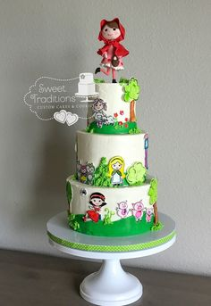 Hand painted characters on the cake with a custom fondant Red Riding Hood topper. Painted Cakes, Buttercream Cake, Red Riding Hood, Nursery Rhymes, Baby Shower Cakes, Fondant, Sweet Treats, Characters, Hand Painted
