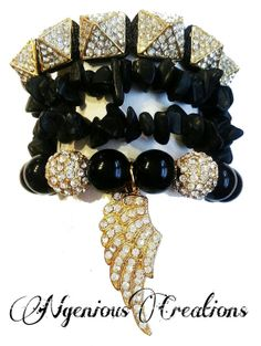 N'Genious Creations Exclusive All Black Everything 4pc Bracelet Set (Available in silver or gold) by NGeniousCreations, $35.00