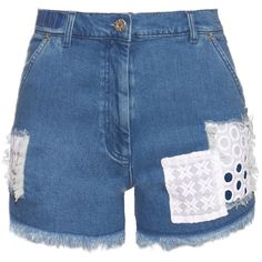 House Of Holland Patchwork frayed-hem denim shorts (580 SAR) ❤ liked on Polyvore featuring shorts, pants, bottoms, denim, highwaist shorts, skate shorts, white shorts, short jean shorts and high waisted shorts