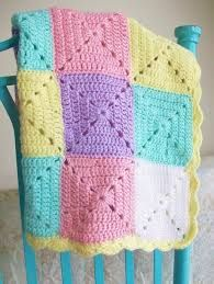 cute and happy colors. simple granny square blanket.