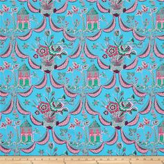 Jennifer Paganelli Sunny Isle Kat Sky from @fabricdotcom  Designed by Jennifer Paganelli for Free Spirit Fabrics, this cotton print collection features truly modern and sunny florals and damasks in bold, saturated colorways. Perfect for quilting, apparel, and home decor accents. Colors include bright blue, shades of pink, and bright jade.