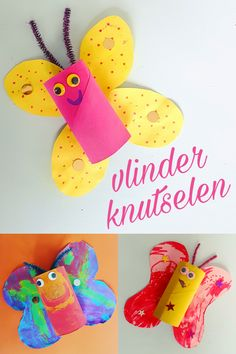 Vlinders knutselen met wc rollen #leukmetkids butterfly crafts toiletroll