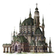 Catholic church, Eunsu Kang on ArtStation at… Fantasy City, Fantasy Castle, Fantasy House, Fantasy Places, Fantasy World, Architecture Antique, Architecture Classique, Classical Architecture, Building Concept