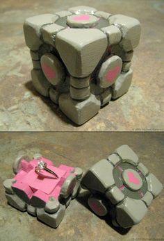 Portal Companion Cube Engagement Ring Box = the ultimate companion cube