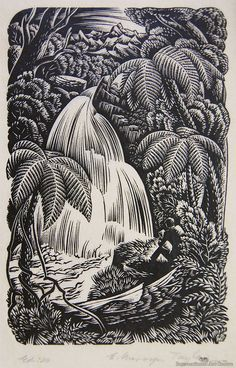 View Waterfall by E. Mervyn Taylor on artnet. New Zealand Art, Nz Art, Hula, Printmaking, Waterfall, Drawings, Illustration, Artwork, Painting