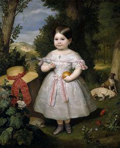 Ribera y Fieve , Carlos Luis de (Spanish, 1815-1891) -- Маленькая девочка на фоне пейзажа, 1847, 116 см x 95 см, холст