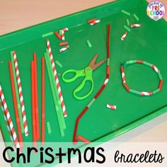 Christmas Activities and Centers for Preschool and Kindergarten: Freebies Too! - Pocket of Preschool Candy cane print Preschool Christmas, Christmas Crafts For Kids, Xmas Crafts, Preschool Crafts, Kids Christmas, White Christmas, Christmas Cookies, Woodland Christmas, Paper Crafting