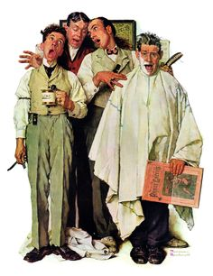 """""""Barbershop Quartet"""" by Norman Rockwell, 1936  ー【This Rockwell illustration was used as The Saturday Evening Post cover published September 26, 1936】"""
