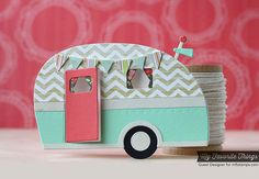 My Favorite Things~Happy Camper Die-namics - Wohnwagen Happy Campers, Cute Cards, Diy Cards, Camping Cards, Homemade Camper, Punch Art Cards, Shaped Cards, Scrapbook Cards, Scrapbooking