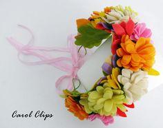 String Crafts, Felt Crafts, Diy And Crafts, Ben And Holly, Felt Crown, Felt Headband, Mermaid Crown, Floral Headbands, Light Orange
