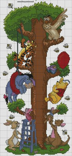 Winnie the Pooh and friends climbing tree cross stitch Disney Cross Stitch Patterns, Cross Stitch For Kids, Cross Stitch Baby, Counted Cross Stitch Patterns, Cross Stitch Charts, Cross Stitch Designs, Cross Stitch Embroidery, Embroidery Patterns, Crochet Patterns