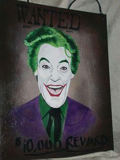 1966 Batman TV Series The Joker WANTED  Hand painted iCONS Hanging Art Sign #ContemporaryArt