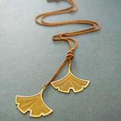 Larissa Loden Jewelry - Brass ginkgo lariat necklace, $35.00 (http://www.larissaloden.com/brass-ginkgo-lariat-necklace/)