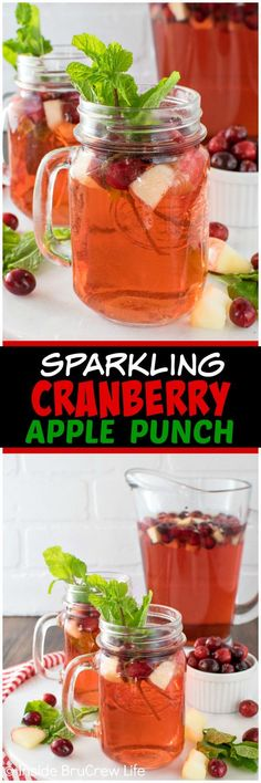 Sparkling Cranberry Apple Punch - this easy 3 ingredient punch is a delicious drink recipe that everyone can enjoy at parties! Fruit Drinks, Smoothie Drinks, Alcoholic Drinks, Smoothies, Beverages, Fun Cocktails, Party Drinks, Cocktail Drinks, Batch Cocktail Recipe