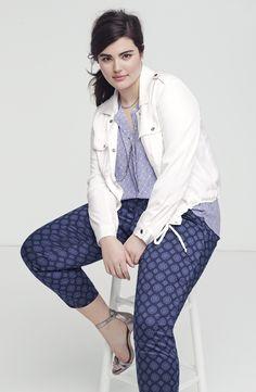 Sejour Crop Jacket, NYDJ Blouse & Ankle Pants (Plus Size)