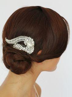 Bridal hair comb.  Heirloom Crystal hair  comb , Bridal hair accessories, Wedding hair,  Vintage wedding hair Style 287