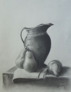 $100  Pitcher with pears. Still life sketch. Original art, graphite pencil drawing by Elena Whitman.