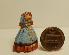 1:48 quarter scale cotton & silk period style gown on dress form OOAK  Handmade #handmade