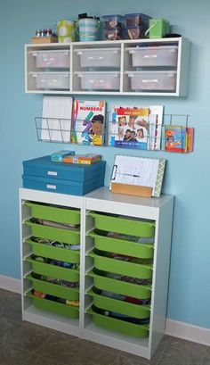 Playroom Craft Corner and Storage Area! With your kids home all summer this is a must for staying organized!
