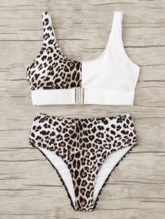 Product name: Leopard Buckle Front Top With High Waist Bikini at SHEIN, Category: Bikinis Trendy Bikinis, Cute Bikinis, Cute Swimsuits, Two Piece Swimsuits, Women Swimsuits, Vintage Swimsuits, Swimwear Fashion, Bikini Swimwear, Bikini Fashion
