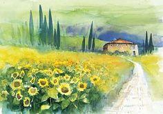 """Eckard Funck, """"Sonnenblumenfeld in der Toskana""""  Mit einem Klick auf 'Als Kunstkarte versenden' versenden Sie kostenlos dieses Werk Ihren Freunden und Bekannten."""