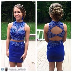 2 Pieces Homecoming Dresses,Mermaid Homecoming Dresses,Short Prom Dresses,Two Pieces Sweet 16 Dress,Royal Blue Homecoming Dress,Backless Cocktail Dresses,Open Back Homecoming Gowns
