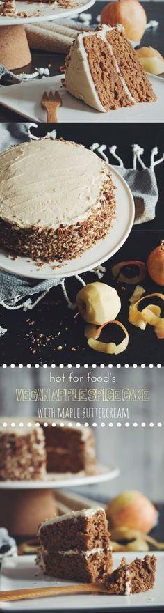 #vegan apple spice cake with maple buttercream   RECIPE on hotforfoodblog.com