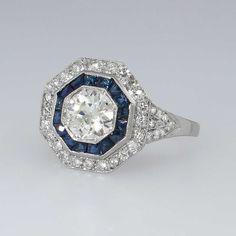Gorgeous 1.66ct t.w. Art Deco Old European Cut Diamond & Sapphire Ring Platinum | Antique & Estate Jewelry | Jewelry Finds