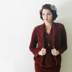 maroon vintage velour chevron dress with by thevintagecloset, $45.00