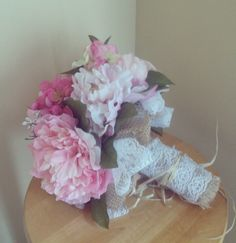 Country Wedding Bouquet Burlap Lace Any Color | eBay