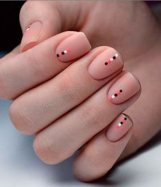 Nude with Dots Nails A universal nail style that suits anyone. Geometric nail art offers plenty of space to be creative. From lines and dots to rectangles and triangles, with its crisp lines and clever design, geometric nail art is here to stay. Square Nail Designs, Short Nail Designs, Acrylic Nails Designs Short, Nail Design For Short Nails, Easy Nail Art Designs, Easy Diy Nail Art, Cute Simple Nail Designs, Chic Nail Designs, Gel Manicure Designs