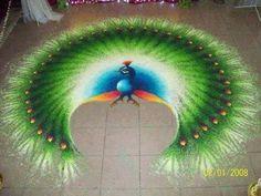 13 Amazing Rangoli Designs of peacock Rangoli Borders, Rangoli Border Designs, Rangoli Designs Images, Rangoli Designs Diwali, Mehndi Designs, Rangoli Designs Peacock, Colorful Rangoli Designs, Beautiful Rangoli Designs, Diya Rangoli