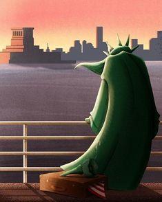 © Sara Gironi Carnevale - Is the American Dream over? Illustration about President Trump immigration politics. Dream Illustration, Satirical Illustrations, Social Art, Political Art, Scientific American, Green Books, Turin, Satire, Film