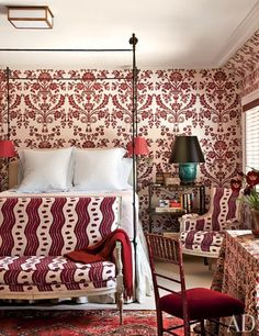 Miles Redd Decorates a Connecticut Home ~ Bedroom