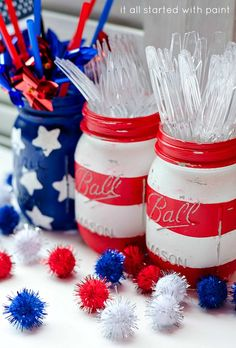 red, white & blue mason jars - painted with acrylic and distressed with fine sand paper... Washi tape to paint stripes and foam stars as stamps