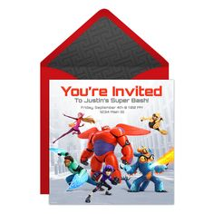 Send this FREE online Big Hero 6 party invitation and get ready to soar to new heights… Baymax style.