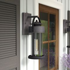 Pranay Rust Iron 1 - Bulb Outdoor Wall Lantern with Dusk to Dawn & Reviews   Birch Lane Outdoor Barn Lighting, Outdoor Light Fixtures, Outdoor Wall Lantern, Outdoor Wall Sconce, Outdoor Walls, Rustic Outdoor, Rustic Lighting, Front Door Lighting, Garage Lighting