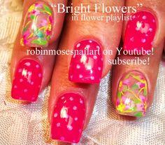 Nail-art by Robin Moses: ocelot nail art, ocelot nails, ocelot art, neon pink nail art, pink flower nails, barbie nails, pink polka dot nail...