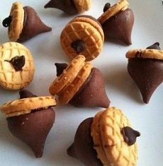 Acorns! Take Hershey kiss mini cookies and put a semi-sweet choco chip on top!
