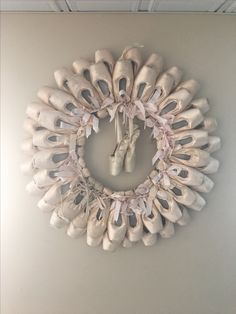 Wreath made out of dead pointe shoes