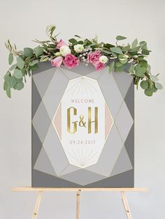 Miss Design Berry's Blush and Grey Wedding Welcome Sign features gold accents and a modern deco style for a elegant look. See more here: https://www.etsy.com/listing/510034960/blush-and-grey-wedding-welcome-sign?ref=shop_home_active_8