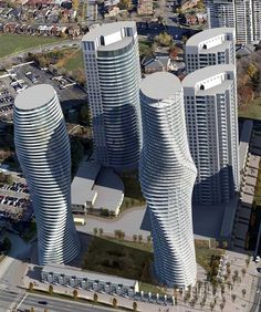 Absolute world Towers, Mississauga, Canada, is a striking residential condominium skyscraper complex in the five tower Absolute City Center development located in Mississauga, Ontario in Canada.  mywebtravelagent.com