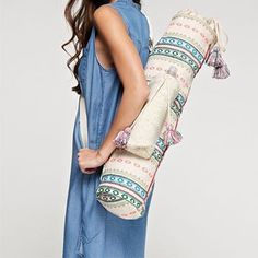 Blue, Green and Pink Tapestry Yoga Mat Bag - The Fox and The Mermaid - 1