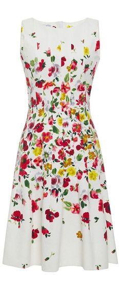 Floral Print Pleated Dress by Oscar de la Renta